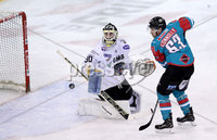Press Eye - Belfast -  Northern Ireland - 12th January 2018 - Photo by William Cherry/Presseye. Belfast Giants Brendan Connolly with Nottingham Panthers Patrick Galbraith during Friday nights Elite Ice Hockey League game at the SSE Arena, Belfast.