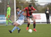 12th October 2019. Danske Bank Irish premiership. Ballymena v Crusaders at Warden Street.. Ballymena\'s Jim Ervin  in action with Crusaders Declan Caddell. Mandatory Credit -Inpho/Stephen Hamilton.