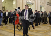 Presseye.com. 21/10/2019. UUP Leader Robin Swann pictured with party members  at Stormont where local MLAs returned to the chamber to debate laws on abortion and same sex marriage which will change at midnight  tonight .. Mandatory Credit Stephen Hamilton /Presseye