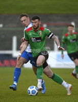 4th May 2021. Danske Bank Irish league,The Oval,Belfast.. Glentoran v Coleraine . Glentorans Patrick McClean   in action with Coleraines  Mathew Shevlin. Mandatory Credit Inpho/Stephen Hamilton