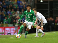 Press Eye - Belfast - Northern Ireland - 9th September 2019 - Picture Matt Mackey / Press Eye.. EURO qualifier 2020 Stadium at Windsor Park, Belfast. Northern Ireland Vs Germany.. Northern Ireland\'s Jamal Lewis with Germany\'s Marco Reus.