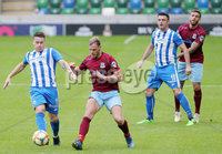 Press Eye - Belfast - Northern Ireland - 27th July 2020 - . Ballymena United FC v Coleraine FC Sadler\'s Peaky Blinder Irish Cup Semi Final at the National Football Stadium at Windsor Park.. Ballymenas Emmett McGuckin with Coleraines Joshua Carson.. Photo by Jonathan Porter Press Eye.