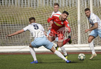 13th April 2019. Danske Bank Irish premiership. Cliftonville v Ballymena United at Solitude Belfast.. Cliftonville\'s Joe Donnelly in action with Ballymena\'s  Scott Whiteside. Mandatory Credit -Inpho/Stephen Hamilton .