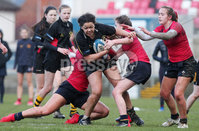 Press Eye Belfast - Northern Ireland 14th March 2019. Danske Bank Ulster Schools Girls X7s Senior Cup Final. Enniskillen Royal Grammar School(in red) vs Loreto Secondary School Letterkenny.. Enniskillen\'s India Daley(left) and Ellen Bloomfield try to hold back Loreto\'s KEELEY LAFFERTY.. . Picture by Jonathan Porter/PressEye.com