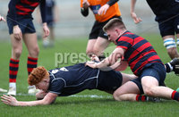 Press Eye - Belfast -  Northern Ireland - 12th March 2019 - Photo by William Cherry/Presseye. Methodist College\'s captain Johnny OKane scores a try against Ballymena Academy during Tuesday afternoons Danske Bank Medallion Shield Final at the Kingspan Stadium, Belfast.   Photo by William Cherry/Presseye