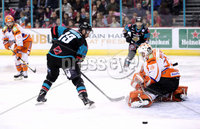 Press Eye - Belfast -  Northern Ireland - 06th January 2018 - Photo by William Cherry/Presseye. Belfast Giants Colin Shields with Sheffield Steelers Ervins Mustukovs during Saturday nights Elite Ice Hockey League game at the SSE Arena, Belfast