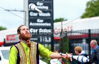 Picture -  Kevin Scott / Presseye. Belfast - Northern Ireland - Sunday 2nd August 2015 - Feile 2015 - Parade - (No Repro Fee). Pictured is hundreds of adults and children dressed in costume for the annual Feile parade on the Falls road in Belfast, despite the rain crowds lined the route to cheer on the performers. . Picture - Kevin Scott / Presseye