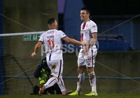 Sadlers Peaky Blinder Irish Cup Round 5 at Mourneview, Lurgan.  04.01.2020.  FC v Coleraine FC. Coleraines Eoin Bradley(right) celebrates after scoring to make it 0-2. . Mandatory Credit INPHO/Jonathan Porter