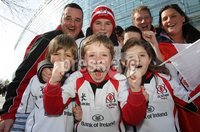 ©Press Eye Ltd Northern Ireland -28th April 2012. Mandatory Credit - Picture by Darren Kidd/Presseye.com .  . HEINEKEN CUP SEMI-FINAL: ULSTER V EDINBURGH, AVIVA STADIUM, DUBLIN..  Ulster fans from Armagh at the Aviva Stadium ahead of Saturday\'s Heineken Cup semi-final