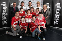 ©Press Eye Ltd Northern Ireland -3rd May 2012. Mandatory Credit - Picture by Darren Kidd/Presseye.com . RANDALSTOWN RUGBY FOOTBALL CLUB WIN TOP PRIZE AT RAVENHILL. Rugby players from Randalstown Rugby Football club who picked up first prize of  £1500 worth of sports equipment from Bank of Ireland.  Pictured with them are Bank of Ireland's Bernard Rooney and Belfast Telegraph\'s Joanne Uprichard  at the season finale of The Belfast Telegraph 'Rugby Rewards' campaign in association with Bank of Ireland.   Also pictured are Ulster Rugby players  Paddy McAllister, Pedrie Wannenburg and Ruan Pienaar .  Press Release. 03.05.2012.  . RANDALSTOWN RUGBY CLUB REWARDED AT ULSTER RUGBY SEASON FINALE. It was a grand slam at Ravenhill last night (Thursday 3rd May) as ten schools and mini rugby clubs from across Northern Ireland gathered at Ravenhill rugby grounds for the season finale of The Belfast Telegraph 'Rugby Rewards' campaign in association with Bank of Ireland and supported by Ulster Rugby..  . Hundred's of schools registered and over 50,000 tokens were collected for the  'Rugby Rewards' initiative, with ten schools being selected at random to be in with the chance of winning the ultimate prize of  £1500 worth of sports equipment from Bank of Ireland..  . Young budding rugby players from Coleraine Mini Rugby Club, Campbell College Junior School, Andrews Memorial Primary School, Ben Madigan Prep – year 4, Donaghadee Rugby Club, St Andrews National School in L'Derry, Randalstown Rugby Football Club, Pond Park Primary School, Lisburn, Dromore RFC Under 7's and Rasharkin Primary School gathered at the grounds eagerly awaiting the results of which prize they had won..  . Met by some of the Ulster Rugby Stars, it was Randalstown Rugby Club Under 14s team which took home the top prize of £1500 worth of sports equipment from the Bank of Ireland.   Andrews Memorial Primary School in Comber won a coaching & training session with the Ulster Rugby squad and Dromore Rugby Club under 7s team won a