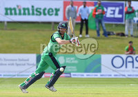 Mandatory Credit: Rowland White / PressEye. Cricket: Walton Tri-Series International. Teams: Ireland (light green) v Bangladesh (dark green). Venue: Malahide. Date: 19th May 2017. Caption: Andrew Balbirney, Ireland