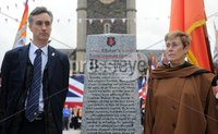 Centenary Covenant Obelisk Unveiling -  Portadown - 30th June 2012. Copyright Presseye.com. Mandatory Credit -  Declan Roughan / Presseye. (L-R)Lord Craigavon\'s great grandson Max Coleman and grand daughter Aileen Coleman. An unveiling and dedication ceremony took place in Portadown on Saturday. A new 6 foot Centenary Covenant Obelisk was unveilled in the town centre plaza  in the presence of Lord Craigavon\'s grand daughter Aileen Coleman and great grandson Max Coleman. Wreaths were also laid at the second world war monument.