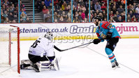 Press Eye - Belfast -  Northern Ireland - 10th March 2018 - Photo by William Cherry/Presseye. Belfast Giants Colin Shields scoring against the Braehead Clan netminder Ryan Nie during Saturday evenings Elite Ice Hockey League game at the SSE Arena, Belfast.