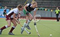 Mandatory Credit: Rowland White/Presseye. Women\'s Hockey: Irish Senior Cup Semi-Final. Teams: Queen\'s (blue) v Loreto (white). Venue: National Hockey Stadium, Dublin. Date: 12th May 2012. Caption: Claire Allison, Queen\'s and Sinead McGirr, Loreto