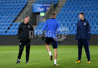 Press Eye - Belfast -  Northern Ireland - 07th October 2017 - Photo by William Cherry/Presseye. Northern Ireland manager Michael O\'Neill and Jonny Evans during Saturdays nights training session at the Ullevaal Stadion, Oslo ahead of Sundays World Cup Qualifier against Norway.   Photo by William Cherry/Presseye