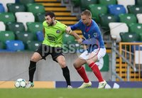 Danske Bank Premiership, Windsor Park, Belfast  3/11/2018. Linfield FC vs Warrenpoint Town. Linfield  Andrew Mitchell       and  Francis McCaffrey   of Warrenpoint Town.. Mandatory Credit @INPHO/Brian Little.