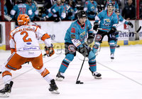 Press Eye - Belfast, Northern Ireland - 06th December 2019 - Photo by William Cherry/Presseye. Belfast Giants\' Patrick Mullen with Sheffield Steelers\' Aaron Brocklehurst during Friday nights Elite Ice Hockey League game at the SSE Arena, Belfast.       Photo by William Cherry/Presseye.
