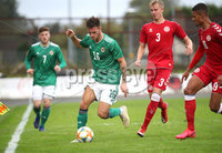 Press Eye - Belfast, Northern Ireland - 0th September 2020 - Photo by William Cherry/Presseye. Northern Ireland\'s Jake Dunwoody with Denmark\'s Lukas Klitten during Tuesday nights U21 Euro Qualifier at the Ballymena Showgrounds, Ballymena.      Photo by William Cherry/Presseye