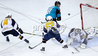 Press Eye - Belfast -  Northern Ireland - 10th October 2018 - Photo by William Cherry/Presseye. Belfast Giants\' Hunter Bishop has a shot against Guildford Flames\' Travis Fullerton during Wednesday nights Elite Ice Hockey League game at the SSE Arena, Belfast.        Photo by William Cherry/Presseye