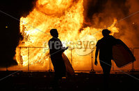 Press Eye - Belfast - Northern Ireland - 11th July  2018 . General view of the Hope Street bonfire at Sandy Row in South Belfast.. It comes after the PSNI issued a notice informing the public that paramilitaries intend to orchestrate serious disorder against police officers on the Eleventh night.. Photo by Kelvin Boyes / Press Eye..
