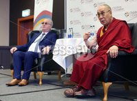 Monday 11th September 2017. Mandatory Credit ©Lorcan Doherty / Presseye . His Holiness the 14th Dalai Lama  and Richard Moore, director, Children in Crossfire, addressing the press conference.. . Children in Crossfire is delighted to announce that our patron, His Holiness the 14th Dalai Lama of Tibet will visit Derry/Londonderry on Sunday 10th and Monday 11th September to celebrate Children in Crossfire's 20 years of saving and changing lives. His Holiness will give a public talk at the Millennium Forum