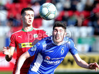 Danske Bank Premiership, Solitude, Belfast 9/9/2017 . Cliftonville vs Dungannon Swifts . Cliftonville\'s Jay Donnelly with Dungannon\'s Kris Lowe. Mandatory Credit ©INPHO/Jonathan Porter