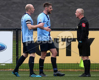 Danske Bank Premiership, Ryan McBride Brandywell Stadium, Derry, Northern Ireland 16/11/2019. Institute vs Linfield. Institutes Dean Vurryband Niall Gracer speak to the referee\'s assistant after the red card. Mandatory Credit INPHO/Lorcan Doherty