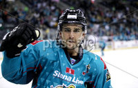 Press Eye - Belfast, Northern Ireland - 06th March 2020 - Photo by William Cherry/Presseye. Belfast Giants\' David Goodwin celebrates scoring against the Fife Flyers during Friday nights Elite Ice Hockey League game at the SSE Arena, Belfast.   Photo by William Cherry/Presseye