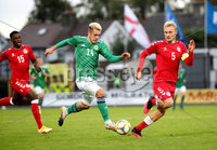 Press Eye - Belfast, Northern Ireland - 0th September 2020 - Photo by William Cherry/Presseye. Northern Ireland\'s Jack Scott with Denmark\'s Vistor Nelsson during Tuesday nights U21 Euro Qualifier at the Ballymena Showgrounds, Ballymena.      Photo by William Cherry/Presseye