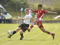 26th  July 2018. SuperCupNI 2018 Minor  section semi final between Greenisland and Portadown at Seahaven Portstewart.. Greenisland\'s Logan Wallace in action with Portadowns Ethan De Sousa.  Mandatory Credit: Stephen Hamilton /Presseye