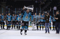 Press Eye - Belfast -  Northern Ireland - 06th April 2019 - Photo by William Cherry/Presseye. Belfast Giants\' David Rutherford pictured with the Elite Ice Hockey League trophy after being crowned Champions at the SSE Arena, Belfast.       Photo by William Cherry/Presseye