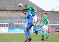 Press Eye Belfast - Northern Ireland 7th September 2018. U19 International Challenge Match - Northern Ireland Vs Slovakia at The Showgrounds, Newry.. Northern Ireland\'s Aaron Heap with Slovakia\'s Tomas Svecula.. Picture by Jonathan Porter/PressEye.com