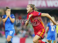 Press Eye Belfast - Northern Ireland 8th August 2017. 2017 UEFA Women\'s Under-19 Championship Final at the National Stadium at Windsor Park, Belfast.  France Vs Spain. Spain\'s Patricia Guijarro celebrates after scoring in the last minute to make it 2-3.. Picture by Jonathan Porter/PressEye.com.