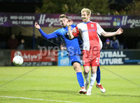Bet McLean League Cup 3rd Round, Stangmore Park, Dungannon   8/10/2019. Dungannon Swifts FC  vs Linfield FC. Dungannon Swifts Dylan King and Ryan McGivern  of Linfield .. Mandatory Credit  INPHO/Brian Little