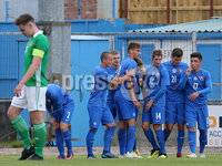 Press Eye Belfast - Northern Ireland 7th September 2018. U19 International Challenge Match - Northern Ireland Vs Slovakia at The Showgrounds, Newry.. Slovakia celebrate after scoring to make it 0-1. . Picture by Jonathan Porter/PressEye.com