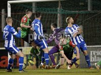 . Bet McLean League Cup Round 3, The Oval, Belfast 30/10/2018. Glentoran vs Coleraine. Coleraines Josh Carson fires his side into a 1-0 lead. Mandatory Credit INPHO/Stephen Hamilton.