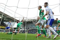 PressEye-Northern Ireland- 8th September  2018-Picture by Brian Little/ PressEye. Northern Ireland   Will Grigg  scores a goal against Bosnia and Herzegovina      during  Saturday\'s  UEFA Nations League match at the National Football Stadium at Windsor Park.. Picture by Brian Little/PressEye .