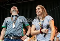 Irish Hockey Team Homecoming, Dublin 6/8/2018. Ireland Coach Graham Shaw with Katie Mullan. Mandatory Credit  ©INPHO/Tommy Dickson