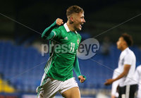 Press Eye - Belfast - Northern Ireland - 18th November 2019. Preparatory Friendly Tournament U19 2019 - Northern Ireland Vs Germany at Mourneview Park in Lurgan.. Northern Ireland Lewis McCann celebrates after he scores to make it 1-0. . Picture by Jonathan Porter/PressEye