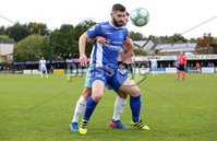 Danske Bank Premiership, Showgrounds, Ballymena 7/10/2017 . Dungannon vs Ballymena United. Dungannon\'s Cormac Burke and Ballymena\'s Willie Faulkner. Mandatory Credit ©INPHO/Philip Magowan