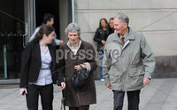 "©Press Eye Ltd Northern Ireland - 16th April 2012. David and Sarah Johnston (pictured), the grandparents of a severely disabled teenager who died in 2001 following a ""brutal assault"" appear before Belfast Magistrate's Court in relation to manslaughter and child cruelty.. Court documents show that the husband and wife, from Carwood Drive in Glengormley, are both charged with unlawfully killing the child on March 24, 2001.  Mandatory Credit - Picture by Stephen Hamilton /Presseye.com. ."