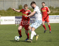 13th April 2019. Danske Bank Irish premiership. Cliftonville v Ballymena United at Solitude Belfast.. Cliftonville\'s Levi Ives in action with Ballymena\'s Johnathan McMurray. Mandatory Credit -Inpho/Stephen Hamilton .