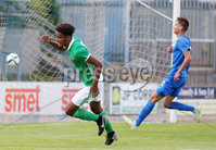 Press Eye Belfast - Northern Ireland 7th September 2018. U19 International Challenge Match - Northern Ireland Vs Slovakia at The Showgrounds, Newry.. Northern Ireland\'s Tyrone Lewthwaite takes it past Slovakia\'s goalkeeper Richard Ludha to make it 1-1. . Picture by Jonathan Porter/PressEye.com