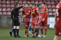 9th January 2021. Danske Bank Premiership, Solitude, Belfast . Cliftonville vs Crusaders. Cliftonville\'s Garry Breen with referee Tim  Marshall  . Mandatory Credit INPHO/Stephen Hamilton
