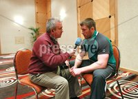 Ireland Rugby Press Conference, Crowne Plaza, Auckland, New Zealand 12/6/2012. Sean O\'Brien talks to Michael Corcoran from RTE during the press conference. Mandatory Credit ©INPHO/Billy Stickland
