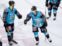 Press Eye - Belfast -  Northern Ireland - 10th October 2018 - Photo by William Cherry/Presseye. Belfast Giants\' Jonathan Ferland celebrates scoring against the Guildford Flames during Wednesday nights Elite Ice Hockey League game at the SSE Arena, Belfast.        Photo by William Cherry/Presseye