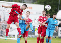 Press Eye - Belfast - Northern Ireland - 27th July 2018. SuperCupNI Cup International Youth Football Tournament at Ballymena\'s Showgrounds.  Supercut Final.  B Italia Vs Co. Down.. B Italia\'s Bingo Marco with Co. Down\'s Eoin Rooney. .. Picture by Jonathan Porter/PressEye