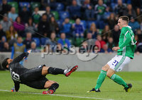 Press Eye Belfast - Northern Ireland 11th September 2018. International Challenge match at the National Stadium at Windsor Park in Belfast.  Northern Ireland Vs Israel. . Northern Ireland\'s Gavin Whyte scores to make it 3-0. . Picture by Jonathan Porter/PressEye.com