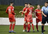7th August 2018. Danske Bank Irish premier league match between Cliftonville and Institute at Solitude in Belfast.. Cliftonvilles Ryan Curran celebrates scoring.  Mandatory Credit: Stephen Hamilton /Inpho