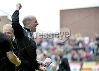 4th August 2018. Danske Bank Irish premier league match between Glentoran and Cliftonville at The Oval in Belfast.. Cliftonvilles manager Barry Gray celebrates after his side took the points in todays game.  Mandatory Credit: Stephen Hamilton /Inpho